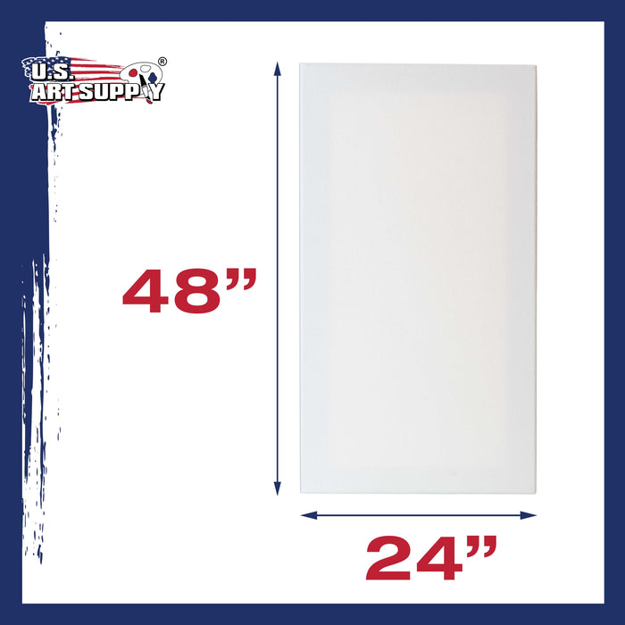 "24 x 48 inch Stretched Canvas 12-Ounce Primed 6-Pack - Professional White Blank 3/4"" Profile Heavy-Weight Gesso Acid Free Bulk Pack - Painting, Acrylic Pouring, Oil Paint"