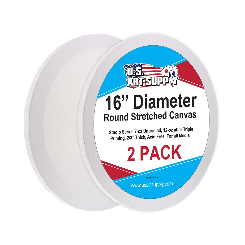 16 Inch Diameter Round 12 Ounce Primed Gesso Professional Quality Acid-Free Stretched Canvas (Pack of 2)