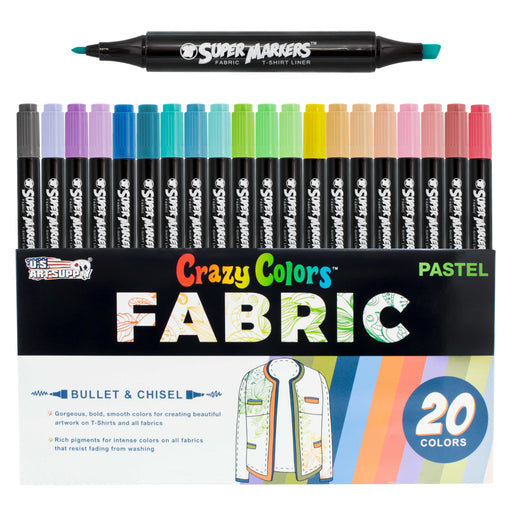 20 Unique Pastel Colors Dual Tip Fabric & T-Shirt Marker Set - Double-Ended Fabric Markers with Chisel Point and Fine Point Tips - 20 Permanent Ink Vibrant and Bold Colors