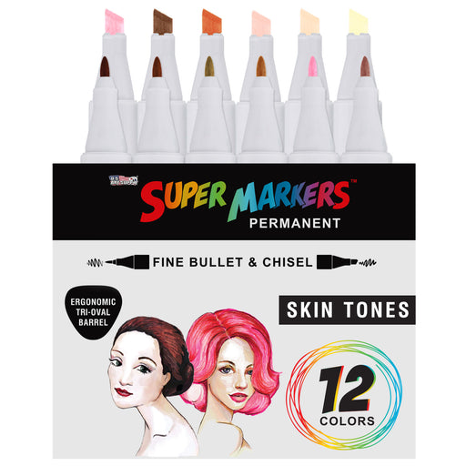 12 Color Skin & Hair Tones Dual Tip Set - Double-Ended Permanent Art Markers with Fine Bullet and Chisel Point Tips - Ergonomic Tri-Oval Barrels - Flesh, Face, Manga, Portrait, Sketch