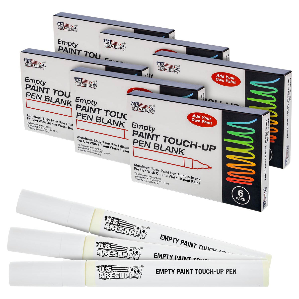 6 Empty Fillable Blank Paint Touch Up Pen Markers Auto Fill Acrylic Oil Base
