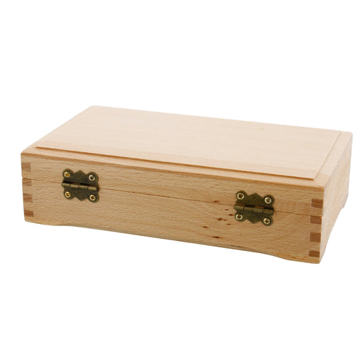 Small Beechwood Artist Tool and Brush Storage Box with Locking Clasp