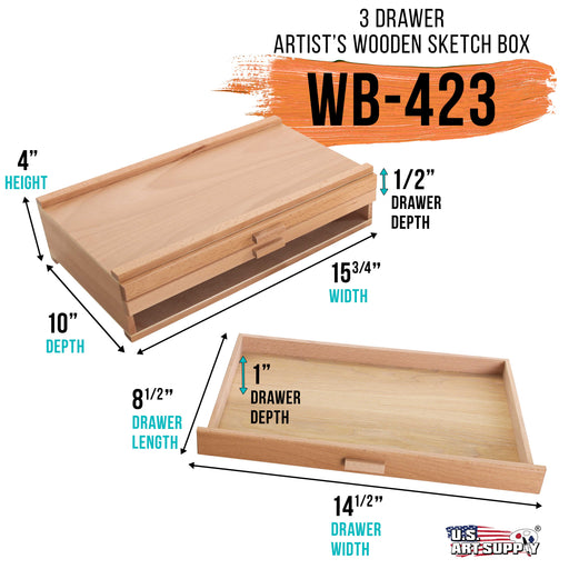 3-Drawer Artist Wood Pastel, Pen, Marker Storage Box