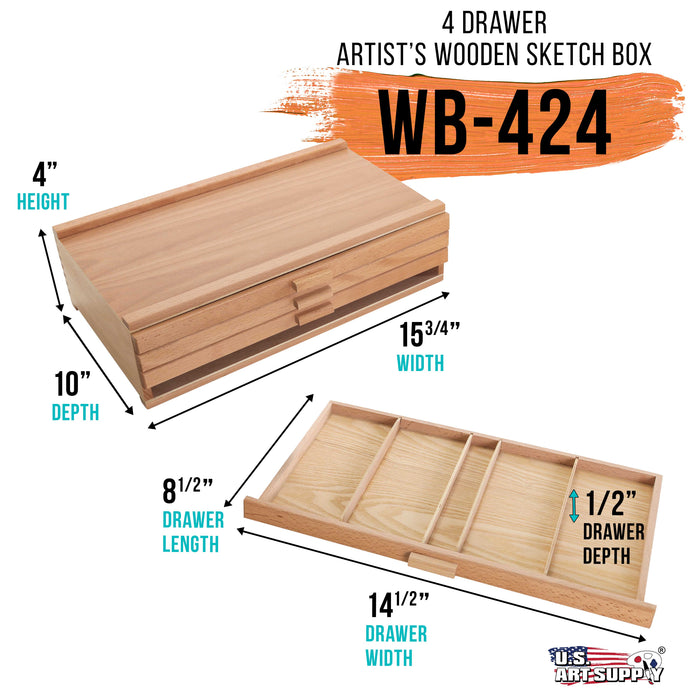 4 Drawer Wood Artist Supply Storage Box - Pastels, Pencils, Pens, Markers, Brushes