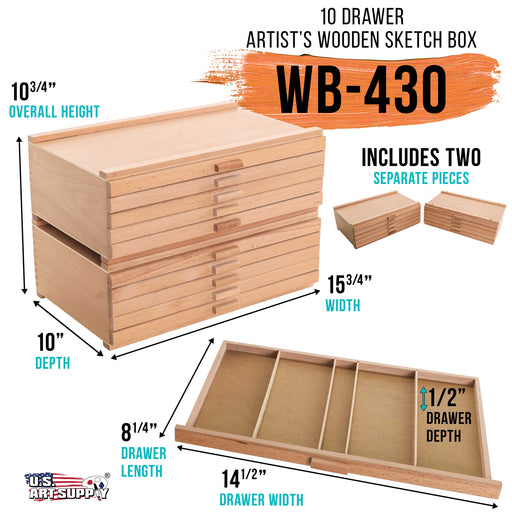 10 Drawer Wood Artist Supply Storage Box - Pastels, Pencils, Pens, Markers, Brushes