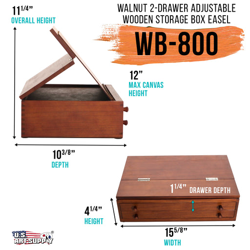 Walnut 2-Drawer Adjustable Wooden Storage Box with Fold Up Solid Drawing Easel