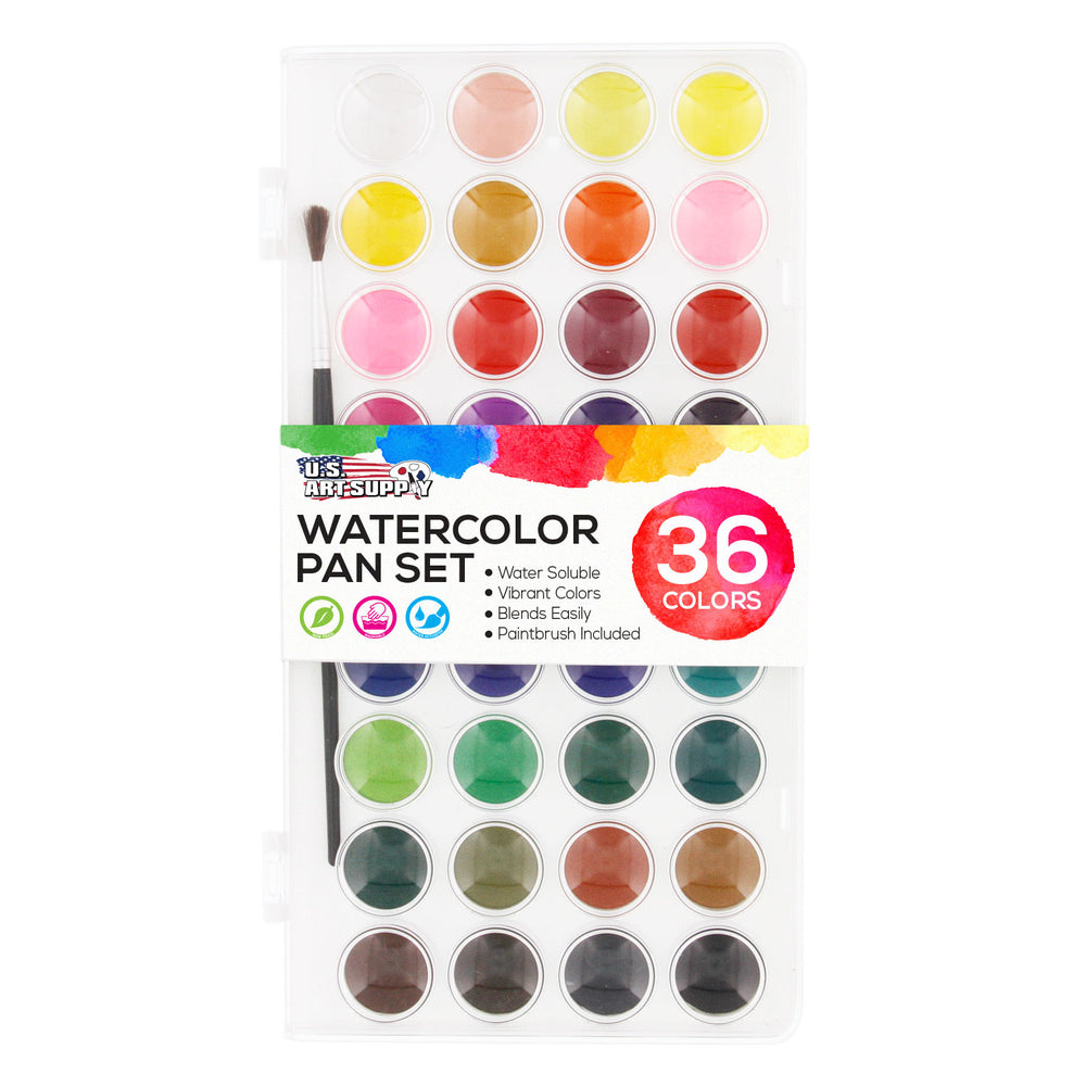 36 Color Watercolor Artist Paint Set with Plastic Palette Lid Case and Paintbrush - Watersoluable Cakes