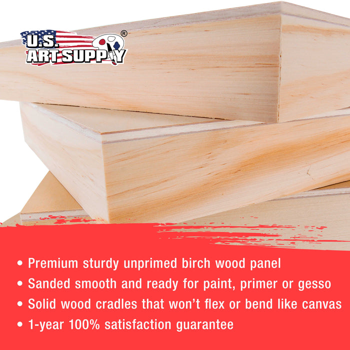 "4"" x 12"" Birch Wood Paint Pouring Panel Boards, Gallery 1-1/2"" Deep Cradle (Pack of 4) - Artist Depth Wooden Wall Canvases - Painting Mixed-Media Craft, Acrylic, Oil, Encaustic"