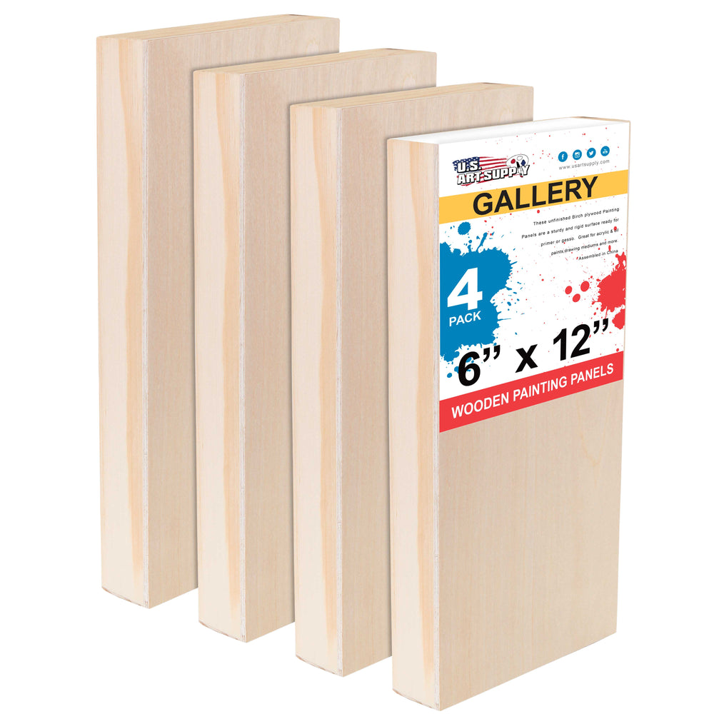 "6"" x 12"" Birch Wood Paint Pouring Panel Boards, Gallery 1-1/2"" Deep Cradle (Pack of 4) - Artist Depth Wooden Wall Canvases - Painting Mixed-Media Craft, Acrylic, Oil, Encaustic"