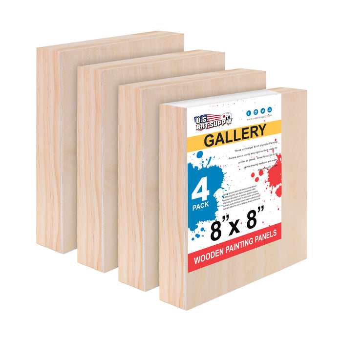 "8"" x 8"" Birch Wood Paint Pouring Panel Boards, Gallery 1-1/2"" Deep Cradle (Pack of 4) - Artist Depth Wooden Wall Canvases - Painting Mixed-Media Craft, Acrylic, Oil, Encaustic"