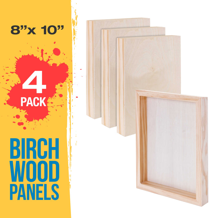 "8"" x 10"" Birch Wood Paint Pouring Panel Boards, Gallery 1-1/2"" Deep Cradle (Pack of 4) - Artist Depth Wooden Wall Canvases - Painting Mixed-Media Craft, Acrylic, Oil, Encaustic"