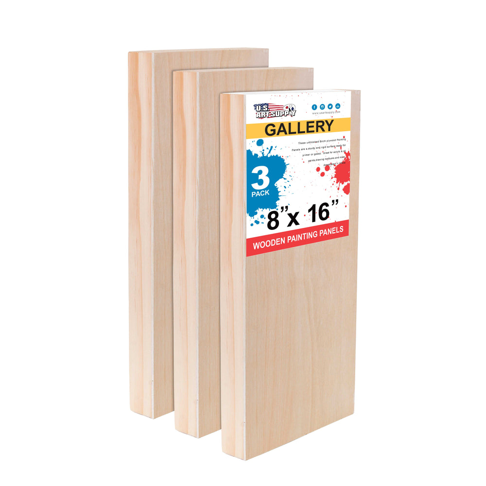 "8"" x 16"" Birch Wood Paint Pouring Panel Boards, Gallery 1-1/2"" Deep Cradle (Pack of 3) - Artist Depth Wooden Wall Canvases - Painting Mixed-Media Craft, Acrylic, Oil, Encaustic"