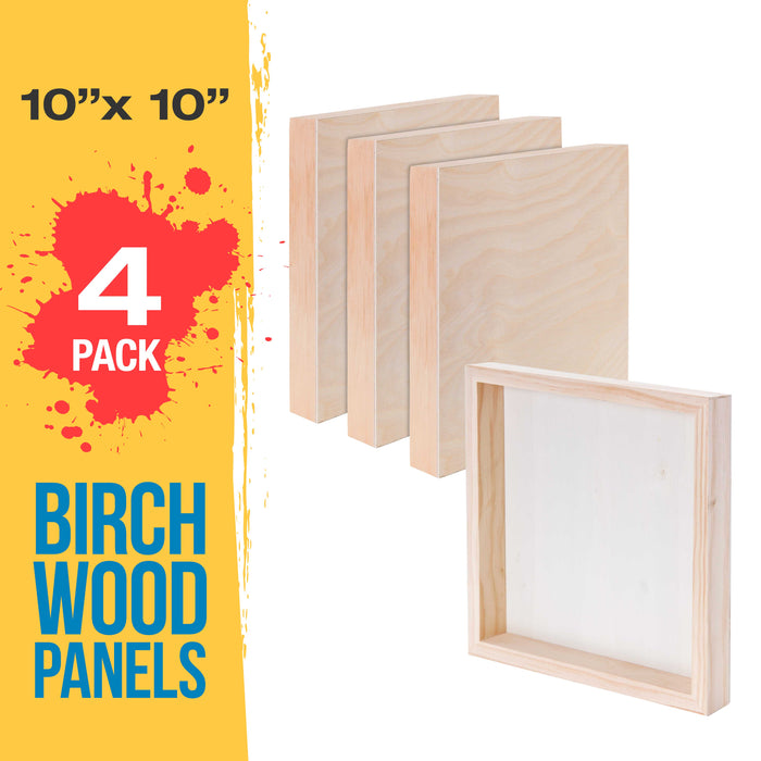 "10"" x 10"" Birch Wood Paint Pouring Panel Boards, Gallery 1-1/2"" Deep Cradle (Pack of 4) - Artist Depth Wooden Wall Canvases - Painting Mixed-Media Craft, Acrylic, Oil, Encaustic"