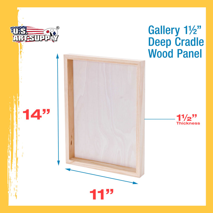 "11"" x 14"" Birch Wood Paint Pouring Panel Boards, Gallery 1-1/2"" Deep Cradle (Pack of 3) - Artist Depth Wooden Wall Canvases - Painting Mixed-Media Craft, Acrylic, Oil, Encaustic"