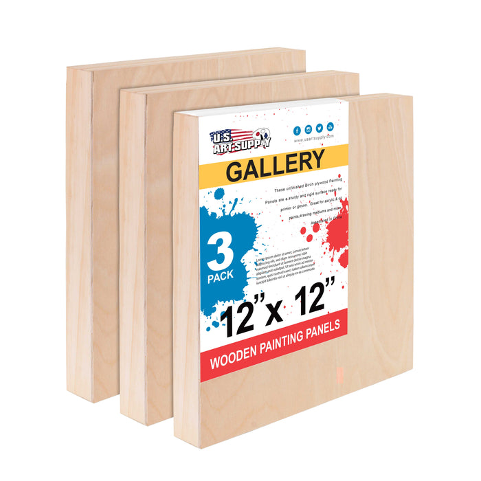 "12"" x 12"" Birch Wood Paint Pouring Panel Boards, Gallery 1-1/2"" Deep Cradle (Pack of 3) - Artist Depth Wooden Wall Canvases - Painting Mixed-Media Craft, Acrylic, Oil, Encaustic"