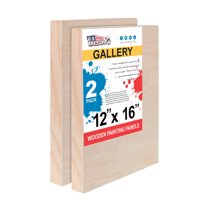 "12"" x 16"" Birch Wood Paint Pouring Panel Boards, Gallery 1-1/2"" Deep Cradle (Pack of 2) - Artist Depth Wooden Wall Canvases - Painting Mixed-Media Craft, Acrylic, Oil, Encaustic"
