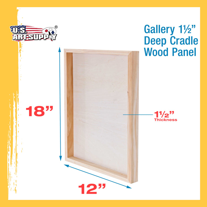 "12"" x 18"" Birch Wood Paint Pouring Panel Boards, Gallery 1-1/2"" Deep Cradle (Pack of 2) - Artist Depth Wooden Wall Canvases - Painting Mixed-Media Craft, Acrylic, Oil, Encaustic"