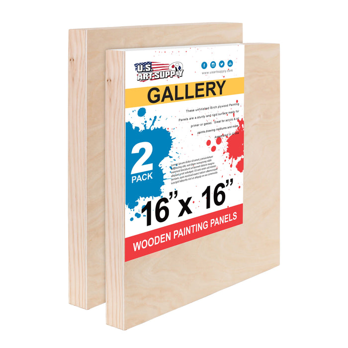 "16"" x 16"" Birch Wood Paint Pouring Panel Boards, Gallery 1-1/2"" Deep Cradle (Pack of 2) - Artist Depth Wooden Wall Canvases - Painting Mixed-Media Craft, Acrylic, Oil, Encaustic"
