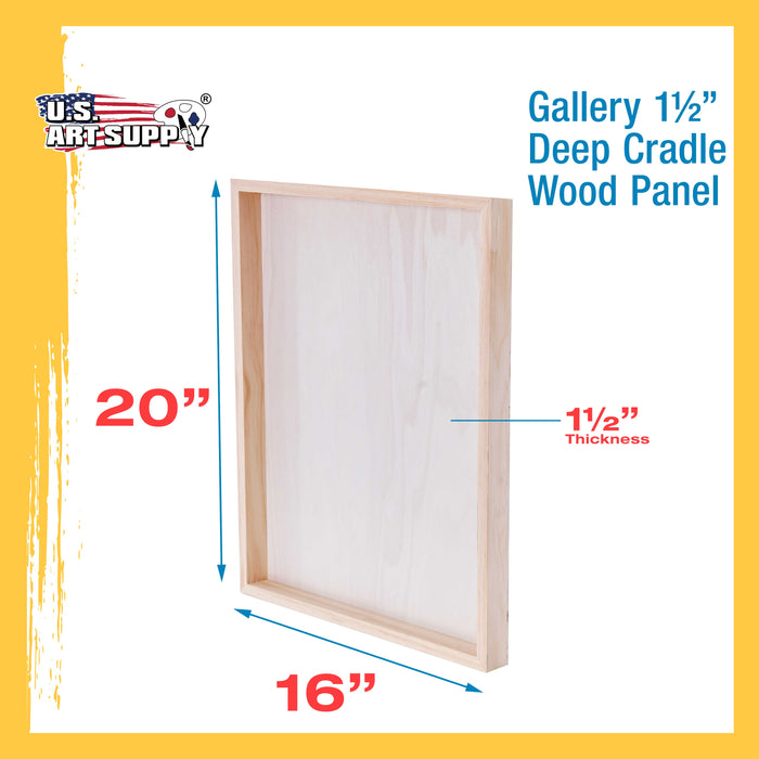 "16"" x 20"" Birch Wood Paint Pouring Panel Boards, Gallery 1-1/2"" Deep Cradle (Pack of 2) - Artist Depth Wooden Wall Canvases - Painting Mixed-Media Craft, Acrylic, Oil, Encaustic"