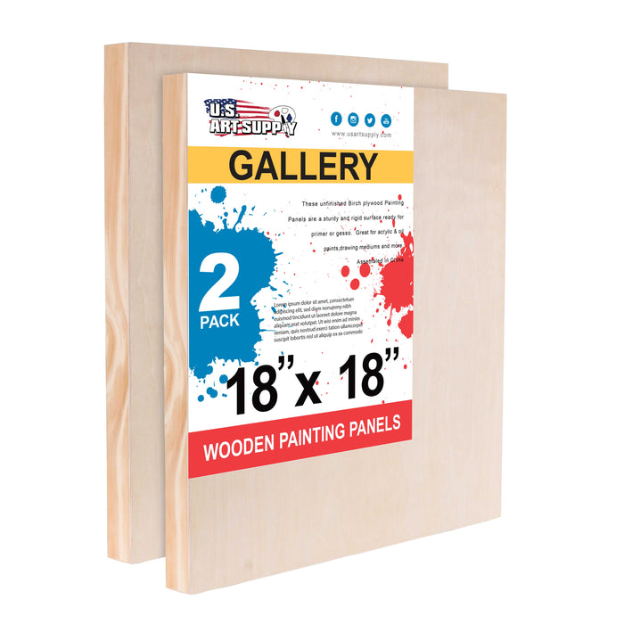 "18"" x 18"" Birch Wood Paint Pouring Panel Boards, Gallery 1-1/2"" Deep Cradle (Pack of 2) - Artist Depth Wooden Wall Canvases - Painting Mixed-Media Craft, Acrylic, Oil, Encaustic"
