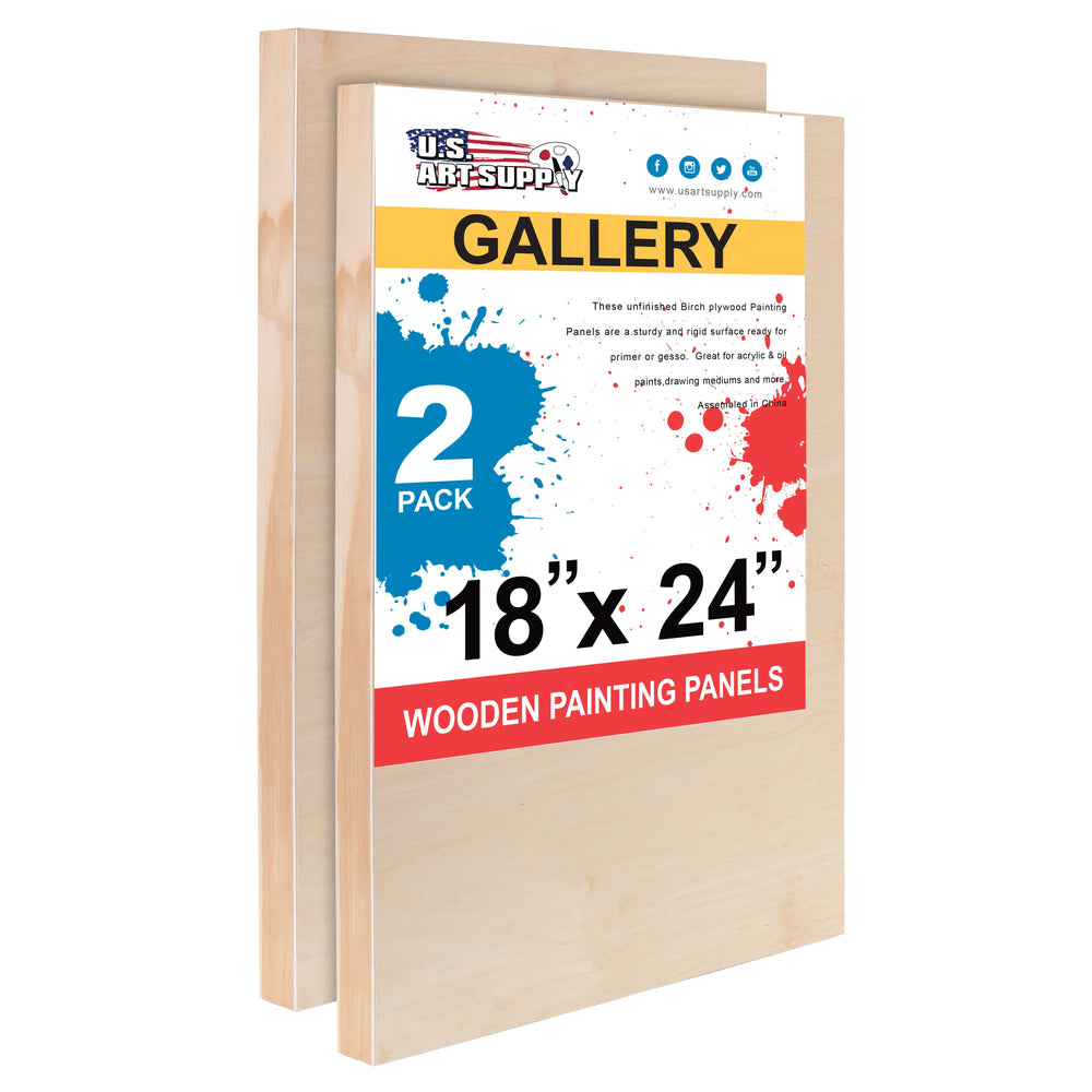 "18"" x 24"" Birch Wood Paint Pouring Panel Boards, Gallery 1-1/2"" Deep Cradle (Pack of 2) - Artist Depth Wooden Wall Canvases - Painting Mixed-Media Craft, Acrylic, Oil, Encaustic"