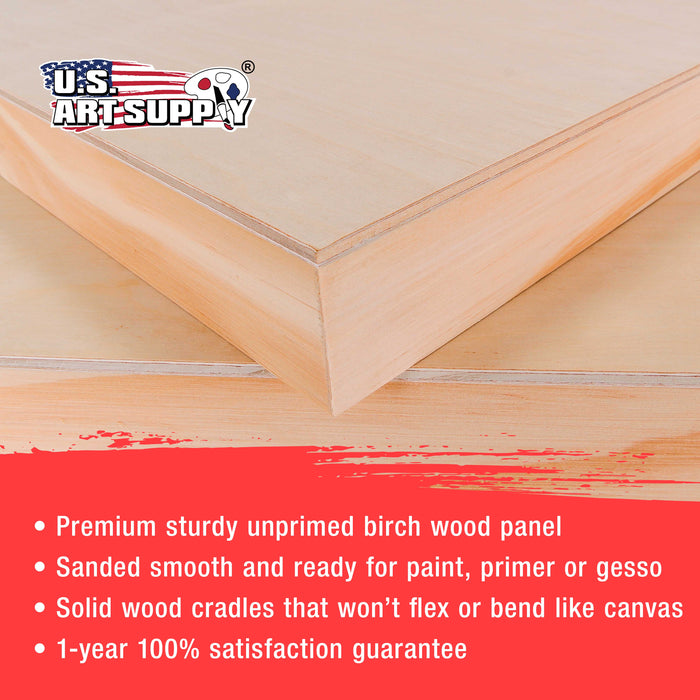 "20"" x 24"" Birch Wood Paint Pouring Panel Boards, Gallery 1-1/2"" Deep Cradle (Pack of 2) - Artist Depth Wooden Wall Canvases - Painting Mixed-Media Craft, Acrylic, Oil, Encaustic"
