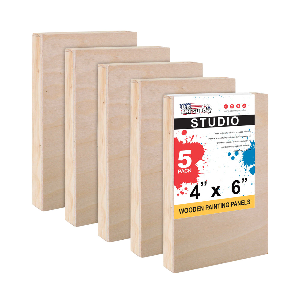 "4"" x 6"" Birch Wood Paint Pouring Panel Boards, Studio 3/4"" Deep Cradle (Pack of 5) - Artist Wooden Wall Canvases - Painting Mixed-Media Craft, Acrylic, Oil, Watercolor, Encaustic"