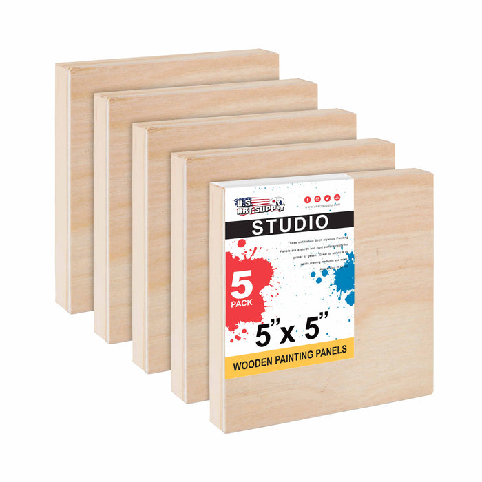 "5"" x 5"" Birch Wood Paint Pouring Panel Boards, Studio 3/4"" Deep Cradle (Pack of 5) - Artist Wooden Wall Canvases - Painting Mixed-Media Craft, Acrylic, Oil, Watercolor, Encaustic"
