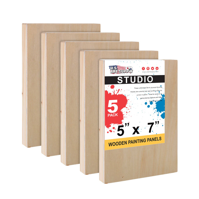 "5"" x 7"" Birch Wood Paint Pouring Panel Boards, Studio 3/4"" Deep Cradle (Pack of 5) - Artist Wooden Wall Canvases - Painting Mixed-Media Craft, Acrylic, Oil, Watercolor, Encaustic"