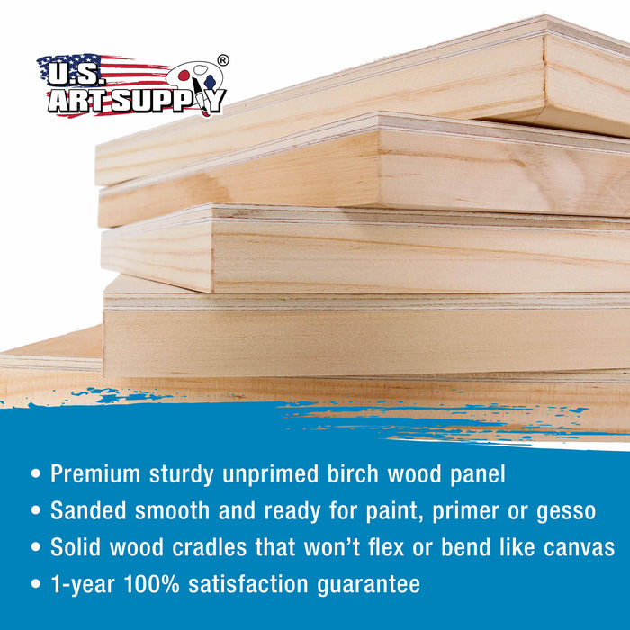 "6"" x 6"" Birch Wood Paint Pouring Panel Boards, Studio 3/4"" Deep Cradle (Pack of 5) - Artist Wooden Wall Canvases - Painting Mixed-Media Craft, Acrylic, Oil, Watercolor, Encaustic"