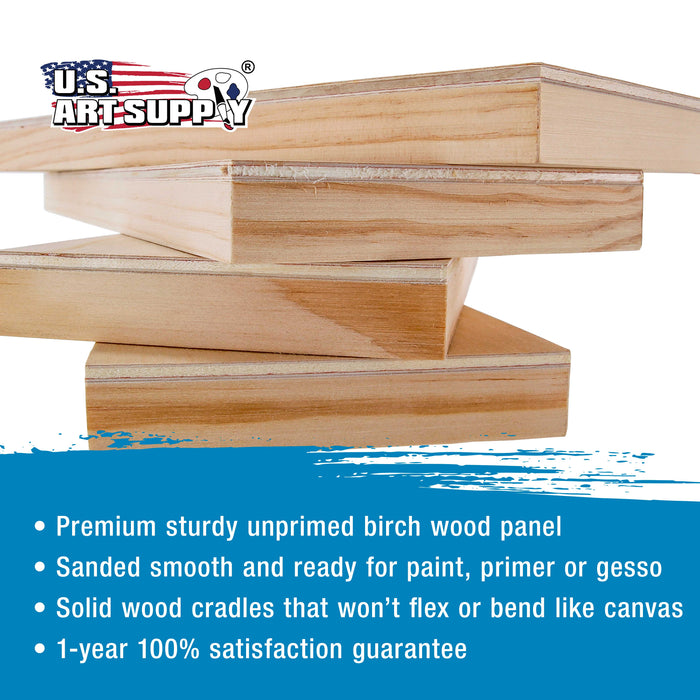 "6"" x 12"" Birch Wood Paint Pouring Panel Boards, Studio 3/4"" Deep Cradle (Pack of 4) - Artist Wooden Wall Canvases - Painting Mixed-Media Craft, Acrylic, Oil, Watercolor, Encaustic"