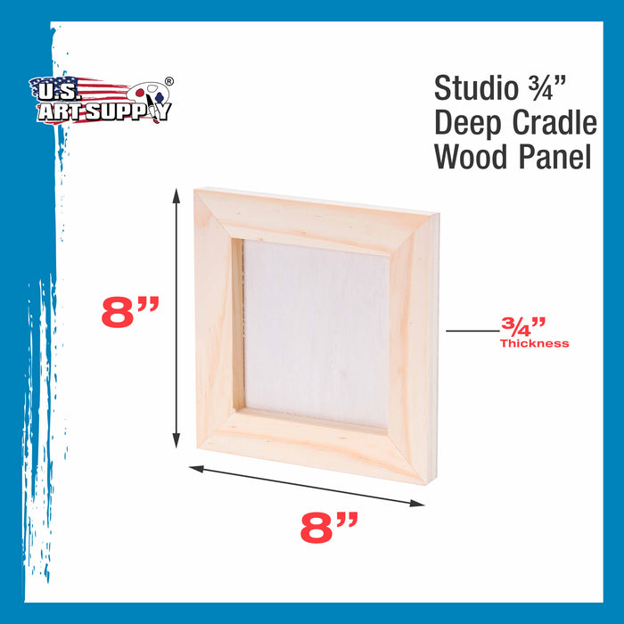 "8"" x 8"" Birch Wood Paint Pouring Panel Boards, Studio 3/4"" Deep Cradle (Pack of 5) - Artist Wooden Wall Canvases - Painting Mixed-Media Craft, Acrylic, Oil, Watercolor, Encaustic"