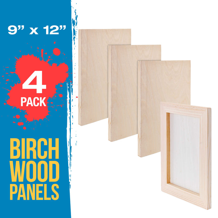 "9"" x 12"" Birch Wood Paint Pouring Panel Boards, Studio 3/4"" Deep Cradle (Pack of 4) - Artist Wooden Wall Canvases - Painting Mixed-Media Craft, Acrylic, Oil, Watercolor, Encaustic"