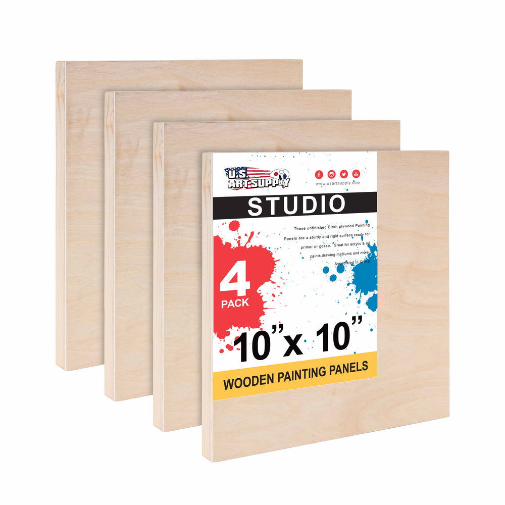 "10"" x 10"" Birch Wood Paint Pouring Panel Boards, Studio 3/4"" Deep Cradle (Pack of 4) - Artist Wooden Wall Canvases - Painting Mixed-Media Craft, Acrylic, Oil, Watercolor, Encaustic"