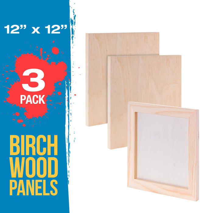 "12"" x 12"" Birch Wood Paint Pouring Panel Boards, Studio 3/4"" Deep Cradle (Pack of 3) - Artist Wooden Wall Canvases - Painting Mixed-Media Craft, Acrylic, Oil, Watercolor, Encaustic"