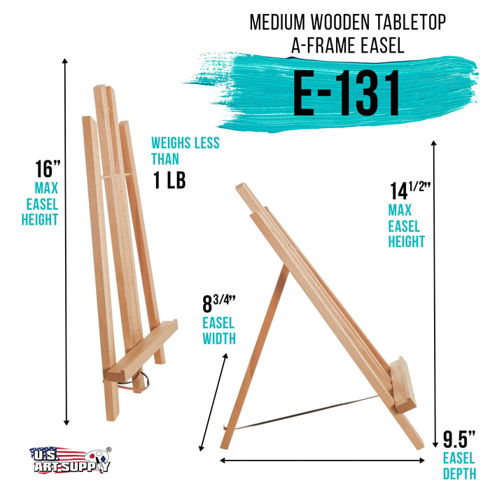 "14"" Medium Tabletop Display Stand A-Frame Artist Easel - Beechwood Tripod, Painting Party Easel, Kids Students Classroom Table School Desktop, Portable Canvas Photo Picture Sign Holder"