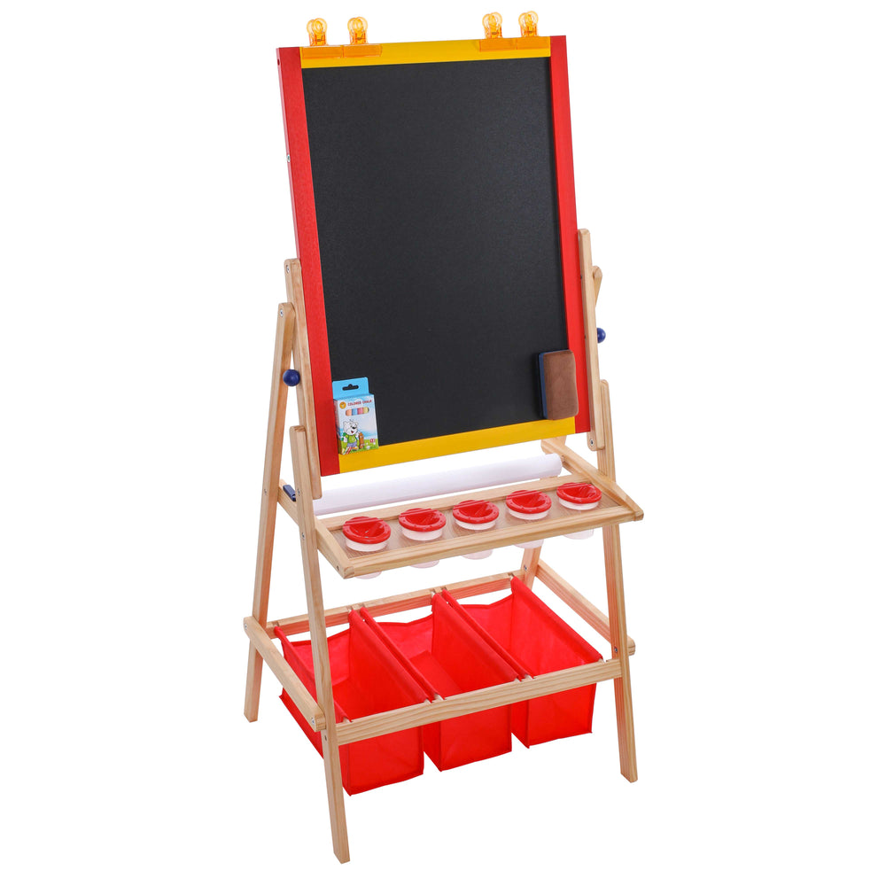 Flip-Over Children's Double-Sided Paint and Drawing Art Easel Board with Chalkboard, Dry Erase Board, Paper Roll, 3 Storage Bins, 5 No-Spill Cups, Chalk - Kids Toddlers Write Have Fun