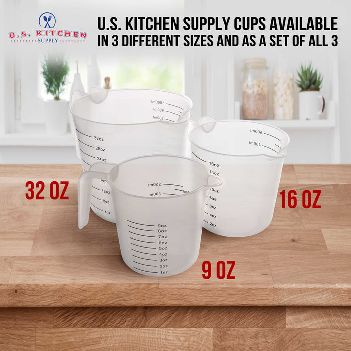 U.S. Kitchen Supply - 8 oz (250 ml) Plastic Graduated Measuring Cups with Pitcher Handles (Pack of 6), 1 Cup Capacity, Ounce, ML Markings, Measure Mix