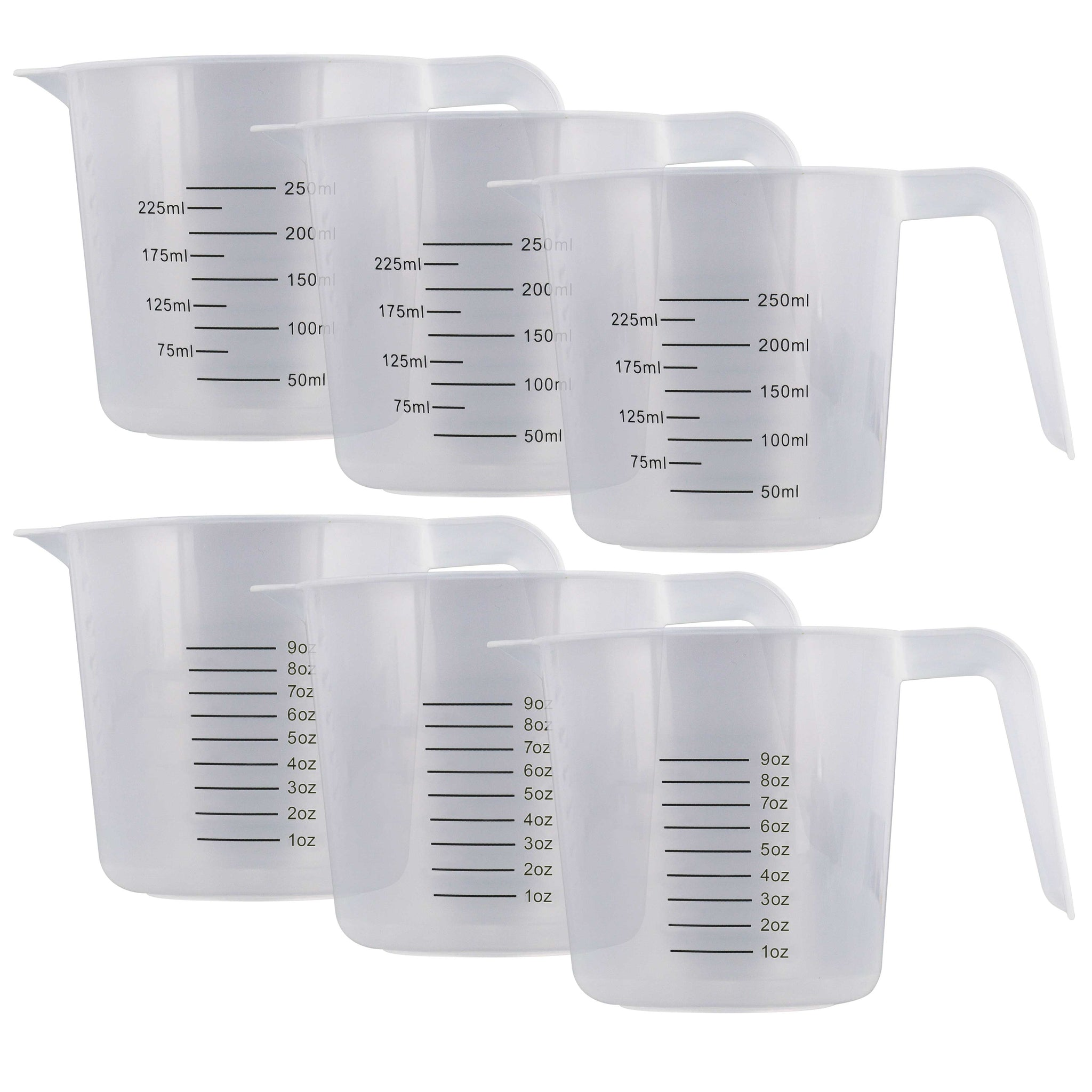 Measuring Cups Disposable Plastic Graduated Cooking Laboratory Mixing Glass 8 Oz