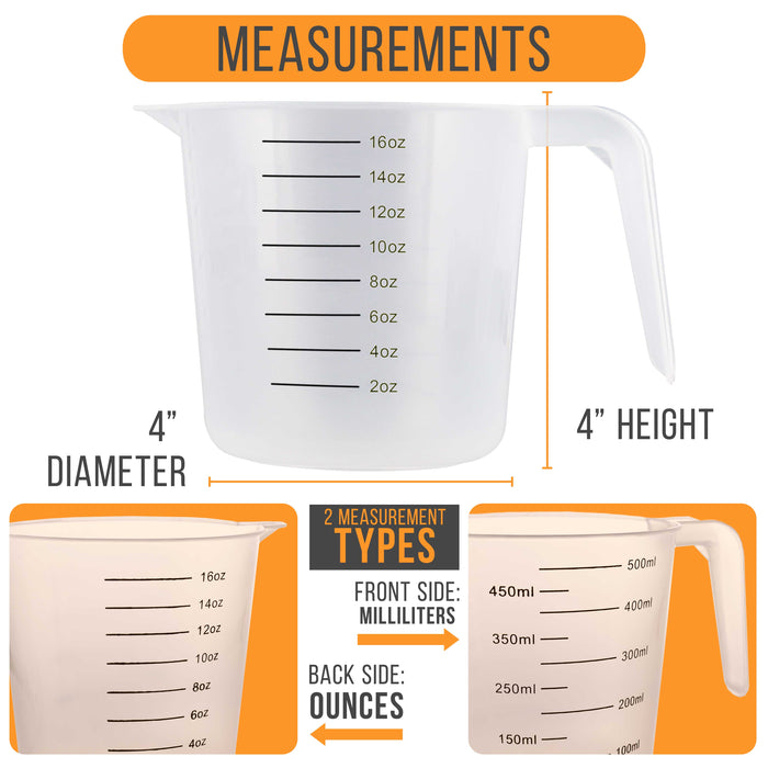 U.S. Kitchen Supply - 16 oz (500 ml) Plastic Graduated Measuring Cups with Pitcher Handles (Pack of 6), 2 Cup Capacity, Ounce ML Markings Measure Mix