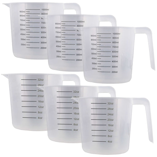 U.S. Kitchen Supply - 32 oz (1000 ml) Plastic Graduated Measuring Cups with Pitcher Handles (Pack of 6), 4 Cup Capacity, Ounce Markings, Measure Mix