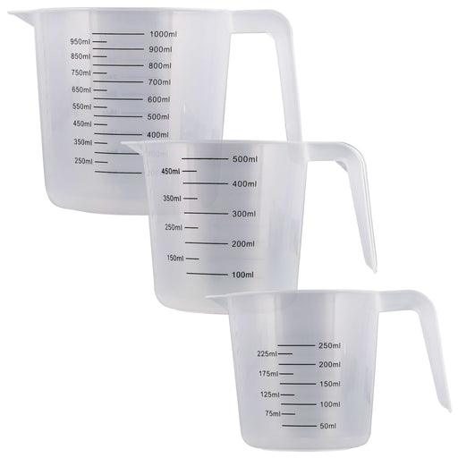 U.S. Kitchen Supply - Set of 3 Plastic Graduated Measuring Cups with Pitcher Handles - 1, 2 and 4 Cup Capacity, Ounce ML Markings - Measure, Mix, Pour