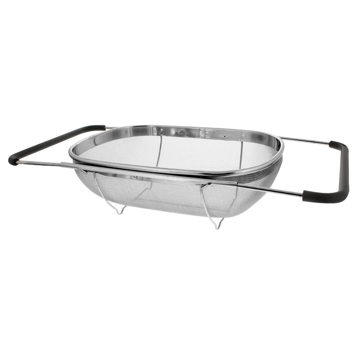 Premium Quality Over The Sink Stainless Steel Oval Colander with Fine Mesh 6 Quart Strainer Basket & Expandable Rubber Grip Handles