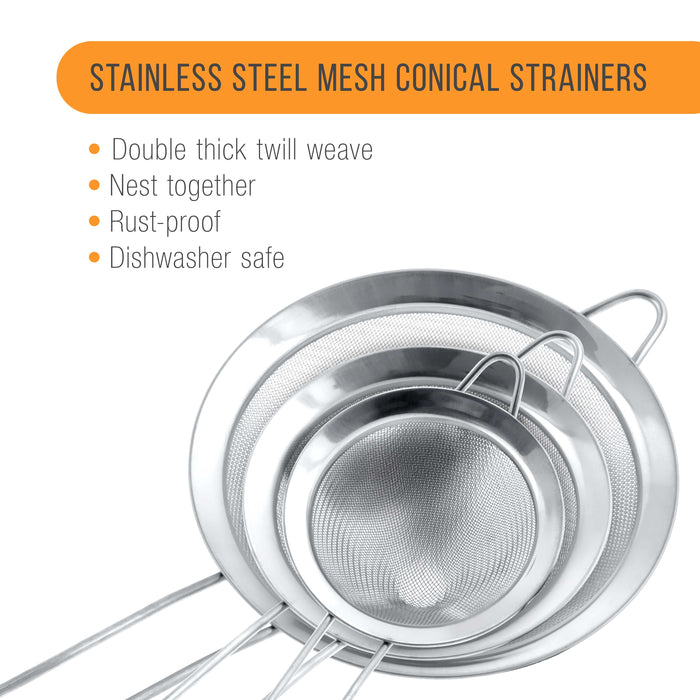 "U.S. Kitchen Supply - Set of 3 Premium Quality Extra Fine Twill Mesh Stainless Steel Conical Strainers - 3"", 4"" and 5.5"" Sizes"