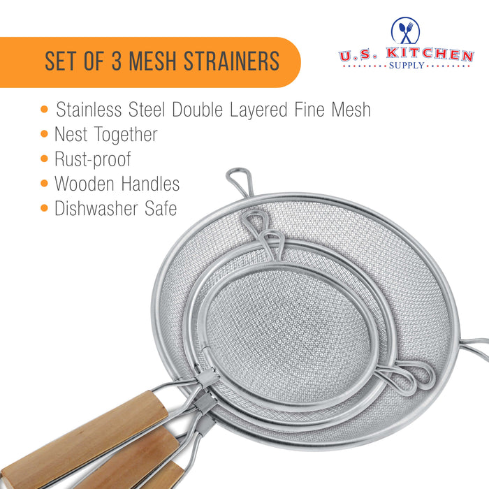 "U.S. Kitchen Supply - Set of 3 Premium Quality Fine Double Mesh Stainless Steel Strainers with Wooden Handles - 4.5"", 5.5"" and 8"" Sizes"