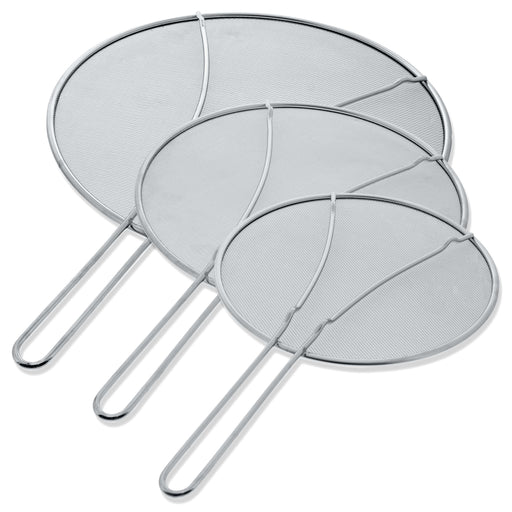 "13"", 11.5"", 9.5"" Stainless Steel Fine Mesh Splatter Screen with Resting Feet Set - For Boiling Pots, Frying Pans - Grease Oil Guard, Safe Cooking Lid"