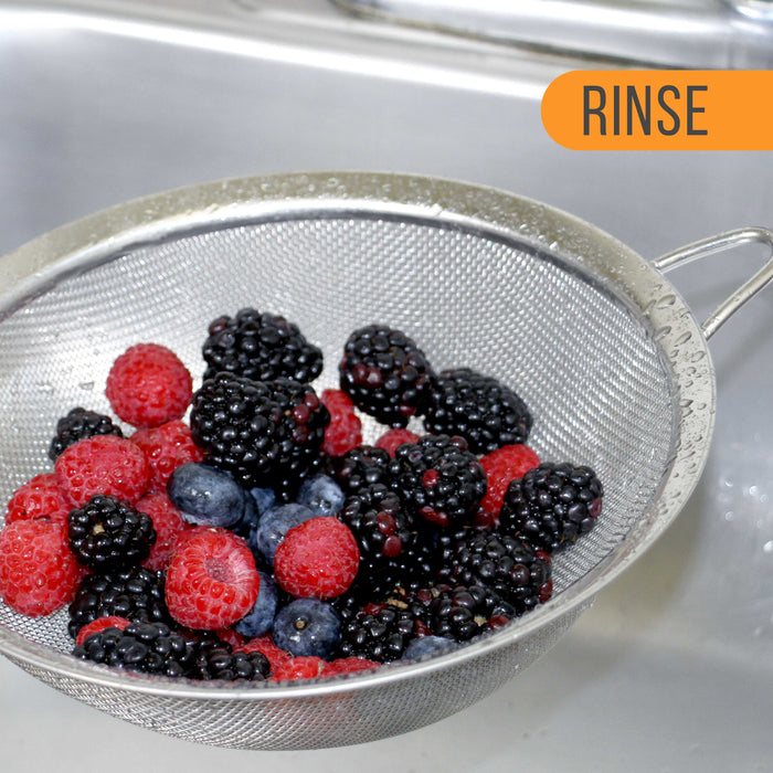 "U.S. Kitchen Supply - Set of 4 Premium Quality Fine Mesh Stainless Steel Strainers with Comfortable Non Slip Handles - 3"", 4"", 5.5"" and 8"" Sizes"