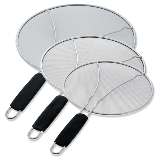 "U.S. Kitchen Supply 13"", 11.5"", 9.5"" Stainless Steel Fine Mesh Splatter Screen with Resting Feet Set, Black Comfort Grip Handles - For Pot, Frying Pan"