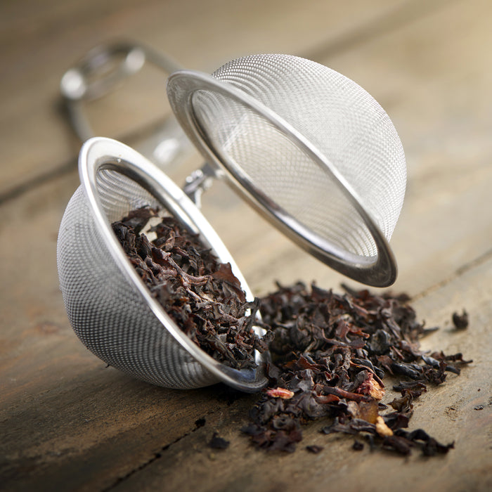 "2 Premium Stainless Steel Snap Tea Ball Strainer Infusers with Handles - 2.1"" Size, Extra Fine Mesh"
