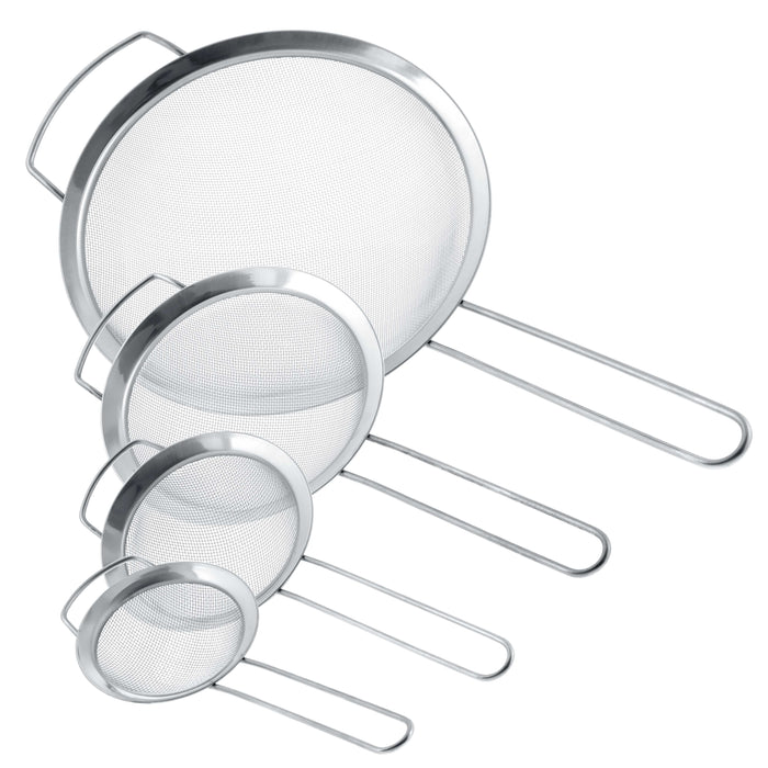"U.S. Kitchen Supply - Set of 4 Premium Quality Fine Mesh Stainless Steel Strainers with Wide Resting Ear Design - 3"", 4"", 5.5"" and 8"" Sizes"